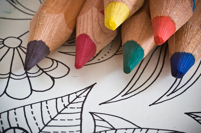 Coloring Book and colored pencils