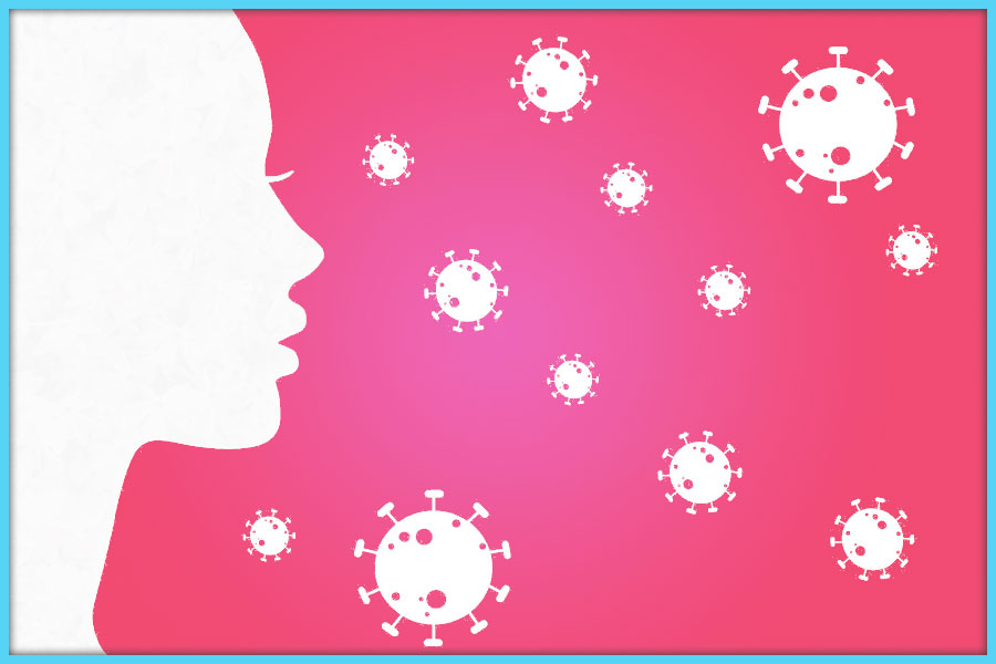 Illustration of woman looking at coronaviruses floating in the air. Fibromyalgia may reduce cytokine storm in COVID.